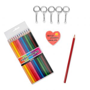 Craft Kit with Key Chains, Pendants Homemade in Heat Shrink Plastic and Colored Pencils